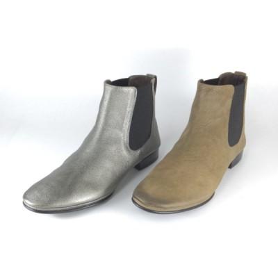 SAYA ブーツ サヤ ラボキゴシ 靴 SAYA 50192 シルバー グレージュ ショートブーツ サイドゴアブーツ ローヒール 履きやすいブーツ レディース オシャレなブーツ