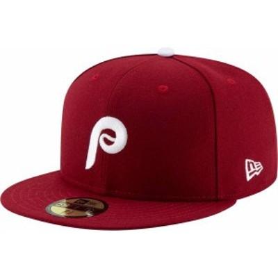 ニューエラ メンズ 帽子 アクセサリー New Era Men's Philadelphia Phillies 59Fifty Alternate Maroon Authentic Hat