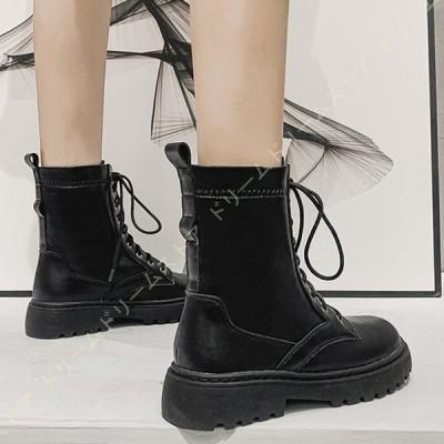 美脚 ブーツ レディース ショート 厚底 マーティンブーツ 編み上げ 黒 大きいサイズ 滑り止め 秋冬 通学 通勤 カジュアル 安定感 ショートブーツ ヒール 靴