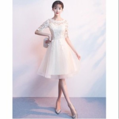 4色入♪二次会 Aライン プリンセスライン 人気 パーティードレス 結婚式 ブライダル ワンピース 花嫁 ウェディングドレス 着痩せ キレイ
