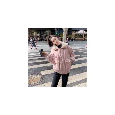 2020冬の韓国版超火短モデル子羊毛襟ins厚い綿服女性ファッション減齢学生綿服