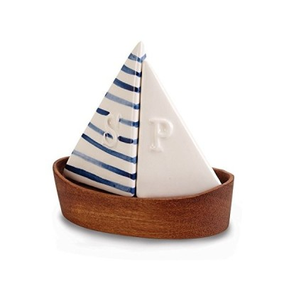 Mud Pie 4505009 Nautical Sailboat Salt and Pepper Shaker Set Blue/White