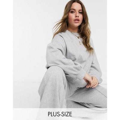 イン ザ スタイル プラス レディース シャツ トップス In The Style Plus x Megan Mckenna sweat top in gray Grey