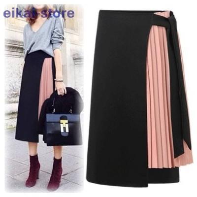 セール クーポン 切り替え プリーツ スカート ボトムス レディース おしゃれ かわいい ファッション 韓国