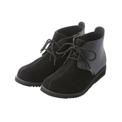 【ゆったり幅】コンビ素材レースアップショートブーツ(低反発中敷)(ワイズ4E) ブーツ・ブーティ, Boots