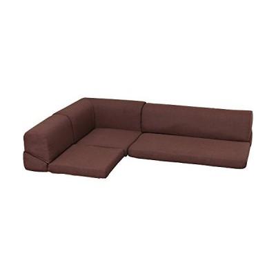 アイリスプラザ フロアコーナーソファー 3点セット 高反発 2人掛け 3人掛け ブラウン 幅100cm L-25生地