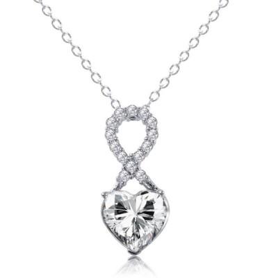誕生石 シルバー 指輪  APRIL - Simulated Diamond CZ Birthstone Heart Sterling Silver Infinity Necklace - CZ Rhodium Finish - For Ever Love