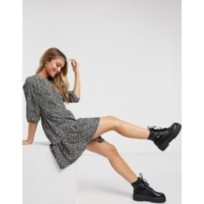 ニュールック レディース ワンピース トップス New Look tiered mini dress in black pattern Black pattern