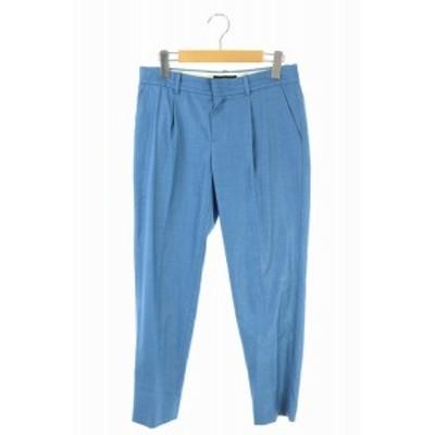 【中古】グリーンレーベルリラクシング ユナイテッドアローズ テーパードパンツ スラックス タック 38 青 ブルー