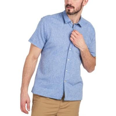 バブアー BARBOUR メンズ 半袖シャツ シャンブレーシャツ トップス Short Sleeve Linen & Cotton Chambray Button-Up Shirt Blue