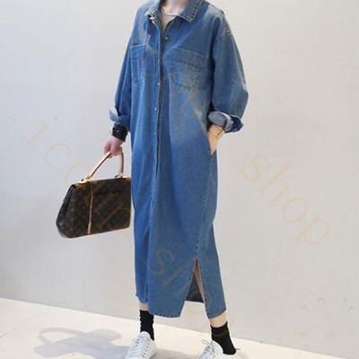 デニムジャケット パーカー Gジャン レディース アウター デニム 長袖 ジージャン コート ロング丈 韓国風 着痩せ ゆったり きれいめ ファッション