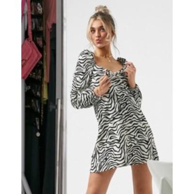 エイソス レディース ワンピース トップス ASOS DESIGN mini textured dress with bow detail in zebra print Monochrome
