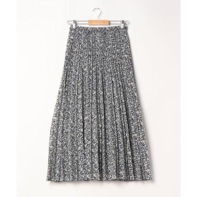 スカート 細見えプリーツロングスカート