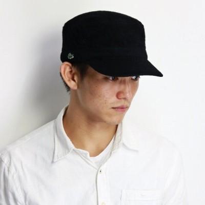 帽子 ワークキャップ ワニ ワンポイント lacoste 刺繍 カジュアル メンズ ウール ドゴール キャップ ラコステ レディース 黒 ブラック