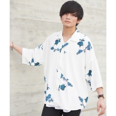 シャツ ブラウス ファッションインフルエンサー ユウト × INTER FACTORY ローズフラワーオープンカラービッグシャツ