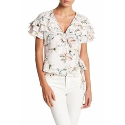 ASTR アストール ファッション トップス ASTR NEW White Ivory Womens Size Medium M Wrap Floral Ruffle Top