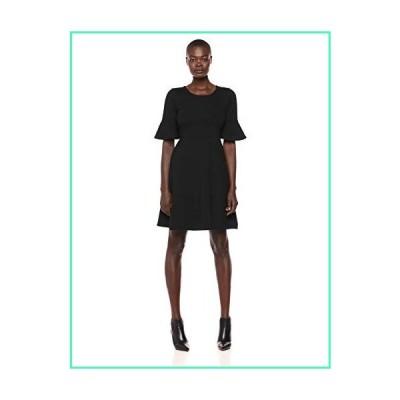 Lark & Ro Women's Ruffle Sleeve Fit and Flare Dress, Black, 4並行輸入品