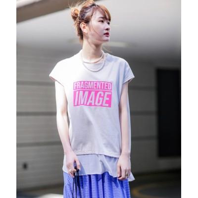 tシャツ Tシャツ (OKIRAKU×ROSE BUD)フロッキープリントシフォンヘムTEE