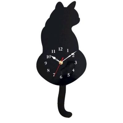 【 しっぽが動く 】 ねこ 振り子時計 おしゃれ 時計 壁掛け 動物 猫 木製 クロック 可愛い かわいい