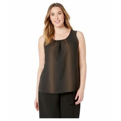 Anne Klein アンクライン 服 一般 Plus Size Florentine Dot Shirred Neck Shell