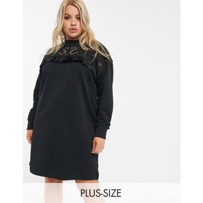 リバーアイランド River Island Plus レディース ワンピース ミニ丈 ワンピース・ドレス broderie frill sweat mini dress in black ブラック