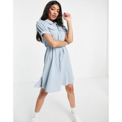 キューイーディーロンドン QED London レディース ワンピース シャツワンピース ワンピース・ドレス Tie Waist Shirt Dress In Powder Blue パウダーブルー