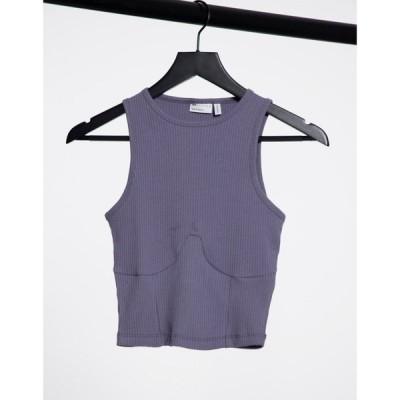 エイソス ASOS DESIGN レディース タンクトップ トップス Hourglass rib racer vest with bust seams in grey グレー