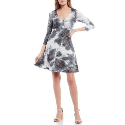 I.N.サンフランシスコ レディース ワンピース トップス 3/4 Sleeve V-Neck Tie-Dye Knit A-Line Dress