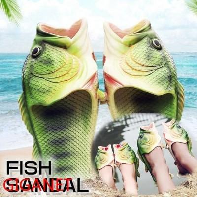 サンダル魚メンズレディースビーチサンダル靴さかなペタンコ歩きやすいフラットおもしろ夏物お揃いカジュアルおしゃれファッション