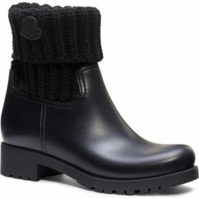 モンクレール MONCLER レディース レインシューズ・長靴 シューズ・靴 Ginette Knit Cuff Leather Rain Boot Black