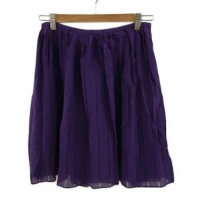 【中古】ドレステリア DRESSTERIOR スカート フレア ミニ シルク 無地 36 紫 パープル レディース