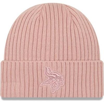 レディース スポーツリーグ フットボール Minnesota Vikings New Era Women's Team Glisten Rouge Cuffed Knit Hat - Light Pink - OSFA