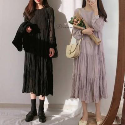 ワンピース ロング 春 長袖 韓国 ファッション レディース シアー シワ加工 ティアード 透け感 レイヤード ゆったり 大人可愛い カジュア