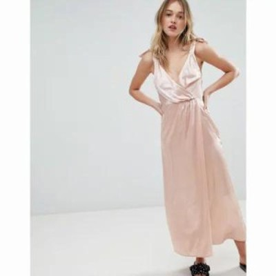モンキー ワンピース Satin Tie Strap Wrap Maxi Dress Pink