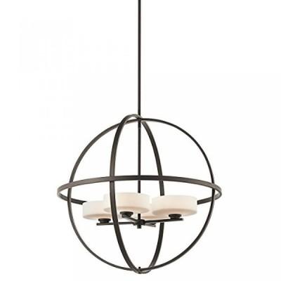 電子ファン Kichler 42506 Olsay Single-Tier Globe-Style Chandelier with 4 Lights - Stem Incl,