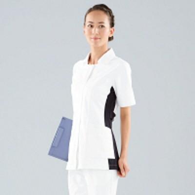 KAZENKAZEN レディスジャケット半袖 (ナースジャケット) 医療白衣 ホワイト×ネイビー S 014-28(直送品)