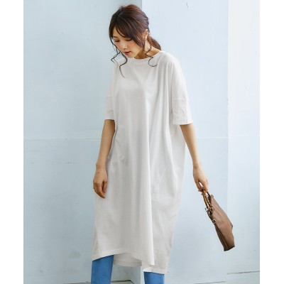 汗じみ防止・抗菌防臭ふんわり5分袖ロングワンピース (ワンピース)Dress