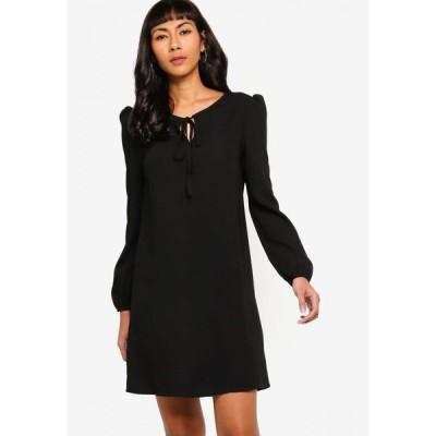 ザローラ Zalora Basics レディース パーティードレス シフトドレス ワンピース・ドレス Tie Front Long Sleeve Shift Dress Black