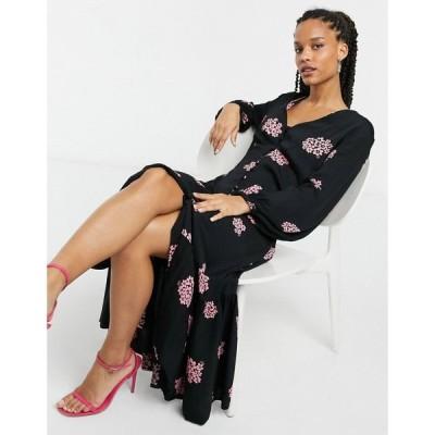 ゴースト Ghost レディース ワンピース ミドル丈 ワンピース・ドレス London button through midi dress in black ブラックフローラル