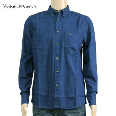 ヌーディージーンズ シャツ メンズ Nudie Jeans 長袖 Stanley Blue 140347