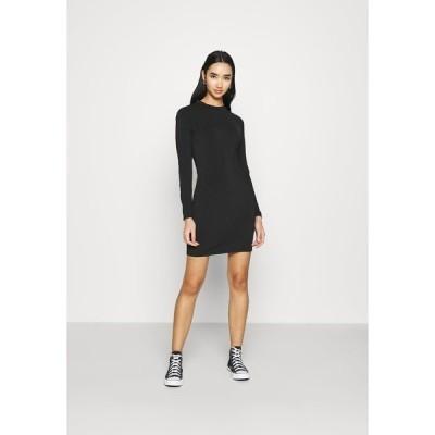 エブンアンドオッド ワンピース レディース トップス Mini high neck long sleeves bodycon dress - Shift dress - black