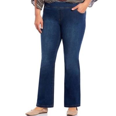 ウェストボンド レディース カジュアルパンツ ボトムス Plus Size the PARK AVE fit Denim Mid-Rise Bootcut Pants Medium Blue Indigo