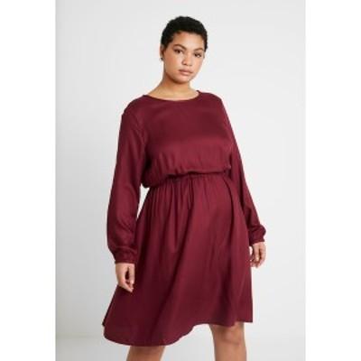 マイ トルー ミー トム テイラー レディース ワンピース トップス FLUENT ELASTIC WAIST DRESS - Day dress - deep burgundy red deep bu