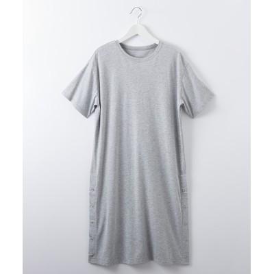シルケットスリットボタンワンピース (ワンピース)Dress