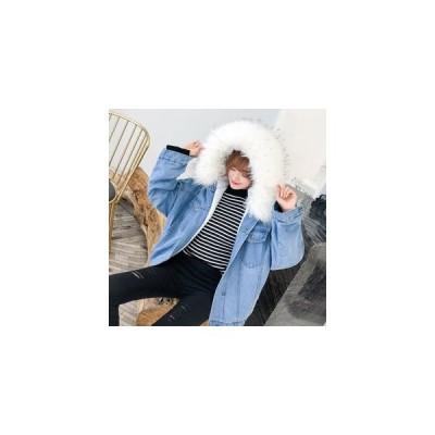 レディース デニムコート厚手 ファーコート デニムジャケット フード付き ファー付き デニムジャケット Gジャン 帽子 スイートガール  3色 ゆっ
