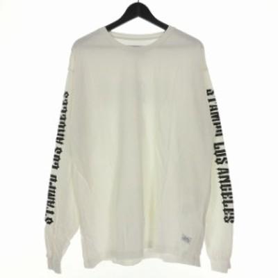 【中古】スタンプド STAMPD 18AW CHOPPER ラインストーン Tシャツ カットソー 長袖 L ホワイト 白 SLA-M1775LS-WHT メンズ