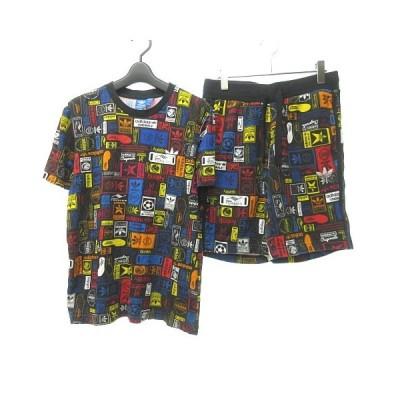 【中古】アディダスオリジナルス adidas originals グラフィック プリント Tシャツ ハーフパンツ AZ1096 AZ1098 マルチカラー 黒 ブラック M 【ベクトル 古着】