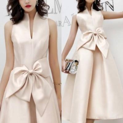 パーティードレス ワンピース お呼ばれ ウエストリボン 結婚式 二次会 ノースリーブ お呼ばれドレス ドレス 20代 30代 40代