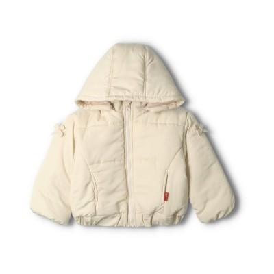 (moujonjon/ムージョンジョン)【子供服】 moujonjon (ムージョンジョン) フード取り外しリボン付き無地中綿ジャケット 80cm~140cm/ ホワイト