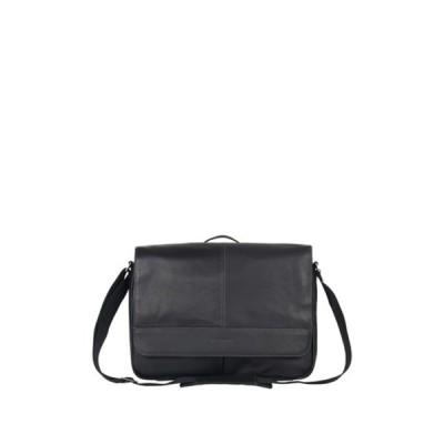 ケネスコール レディース ショルダーバッグ バッグ Single Gusset Flapover Colombian Leather Messenger Bag BLACK